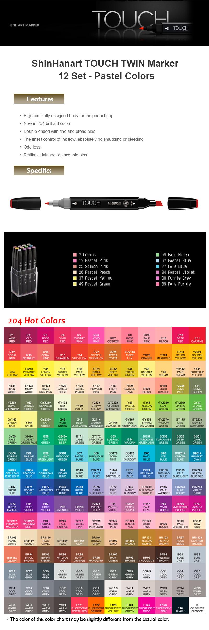 Toque de Arte Marcador Doble 12 Shinhan Set/_12 Colores Pastel